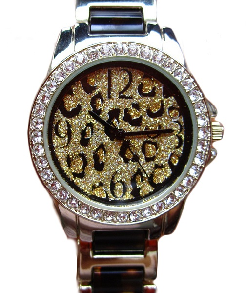 Geneva Leopard Dial Bling Watch