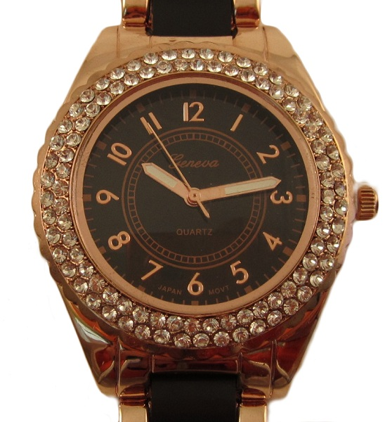 Geneva Two Toned Black and Rose Gold Watch