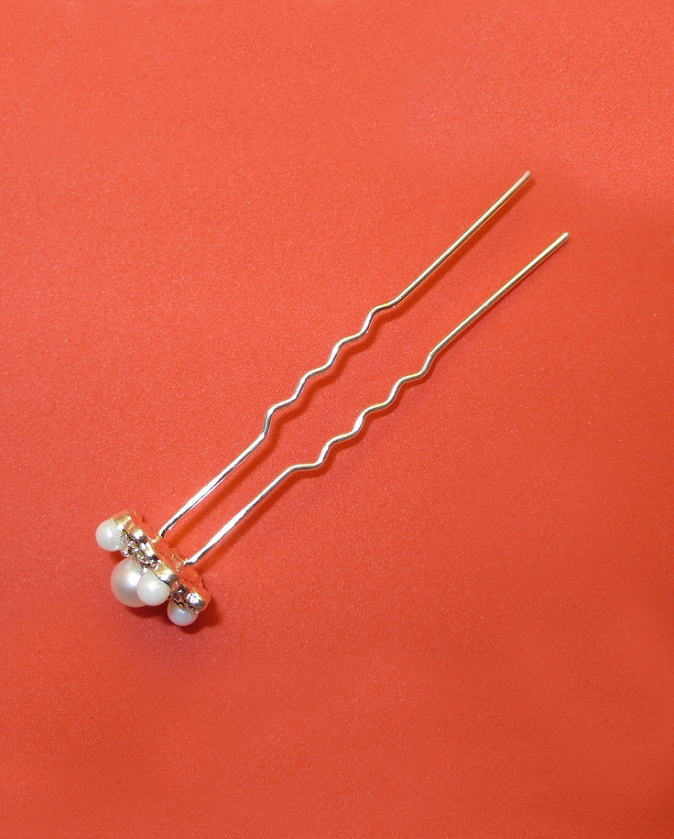 Elegant Crystal and Silver Pearl Hair Pins