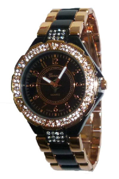 Geneva Bling Watch - Black and Rose Gold