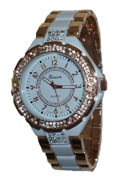 Geneva Bling Watch - White and Rose Gold