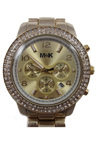M&K Gold Date Glitz Watch - Click Image to Close