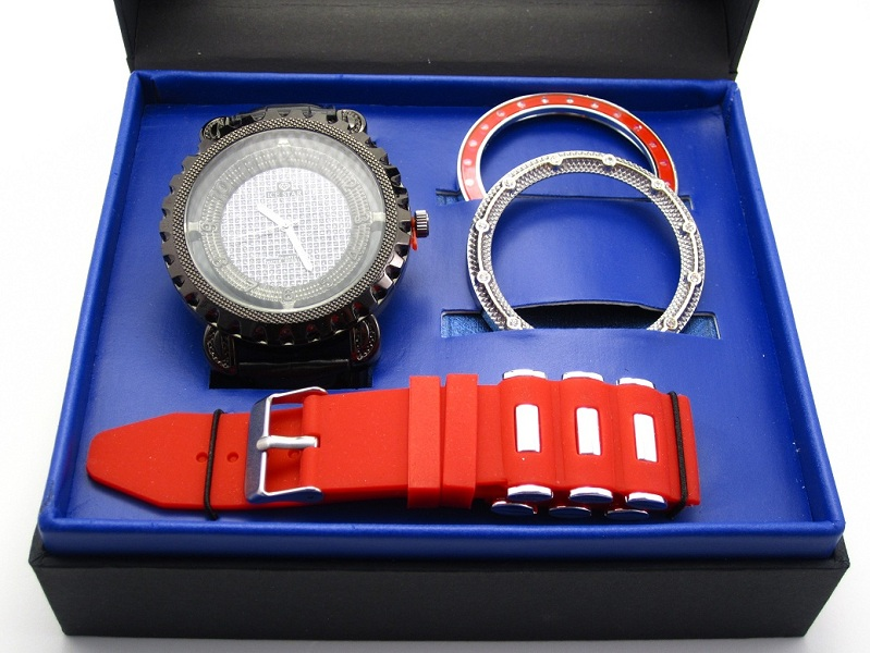 Ice Star Men's 2 Band 3 Bezel Watch Gift Set - Red/Black