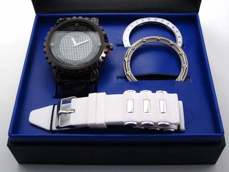 Ice Star Men's 2 Band 3 Bezel Watch Gift Set - White/Black