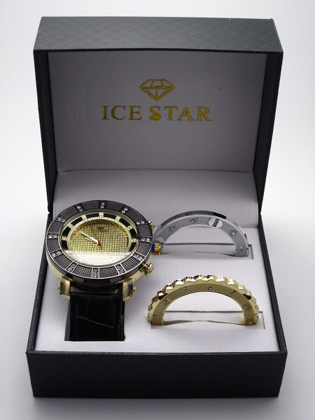 Ice Star Men's 3 Bezel Bling Gift Set - Gold