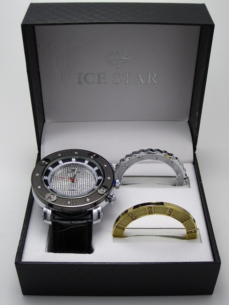 Ice Star Men's 3 Bezel Bling Gift Set - Silver