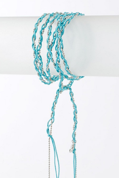 Fio String Weave Bead Chain Wrap Bracelet or Necklace