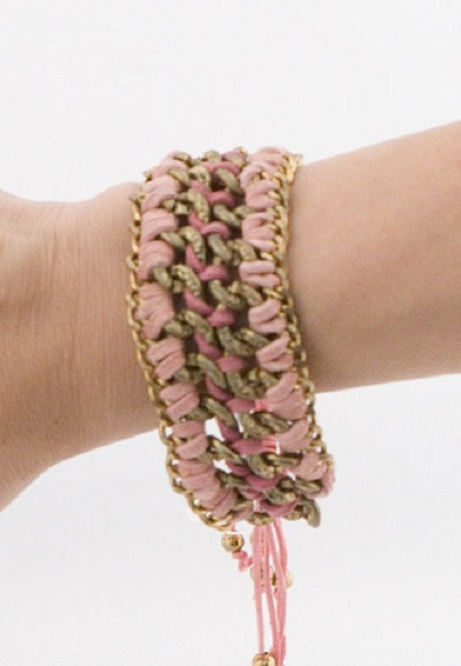 Mokka Suede and Chain Cord Bracelet - More Colors