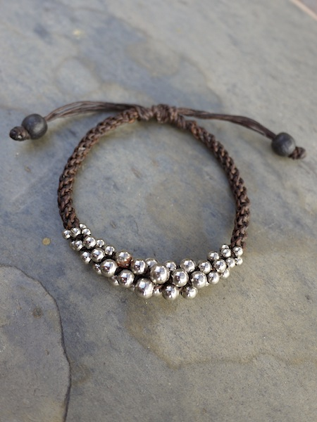 Thai Silver Beads Adjustable Cord Bracelet - More Colors