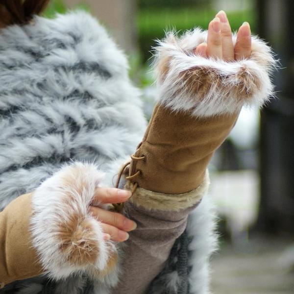Suede and Fur Lined Fingerless Gloves