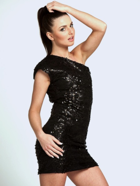 Cosmic One Shoulder Black Sequin Mini Dress