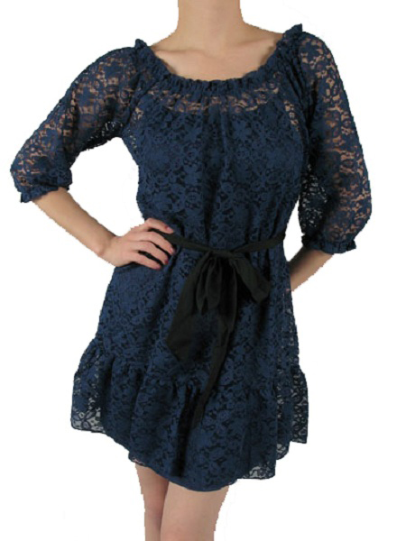 Ella Sash Tie Navy Floral Lace Dress