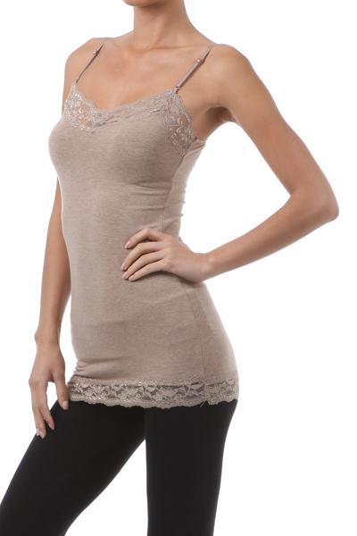 Long Lace Trim Cami - More Colors