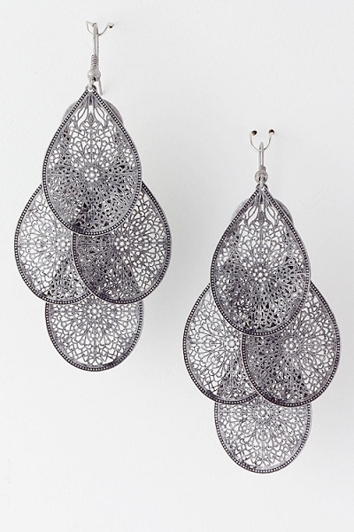 Patterned Teardrop Cluster Earrings