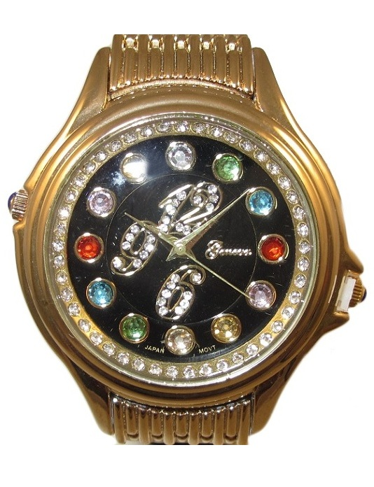 Crazy Carats Black Dial Gold Watch