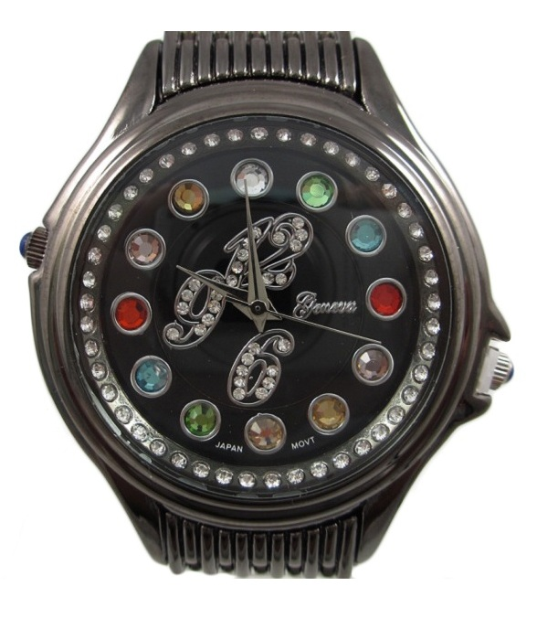Crazy Carats Black Dial Hematite Watch