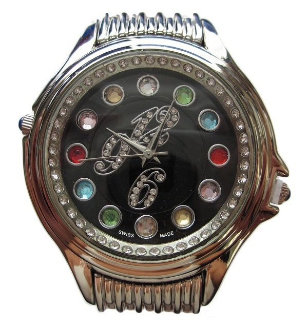 Crazy Carats Black Dial Silver Watch