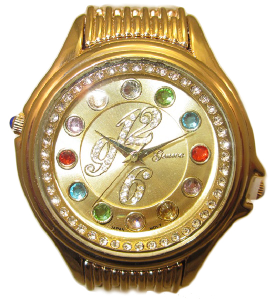 Crazy Carats Gold Dial Gold Watch