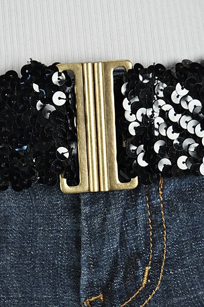 Black Sequin Elastic Belt