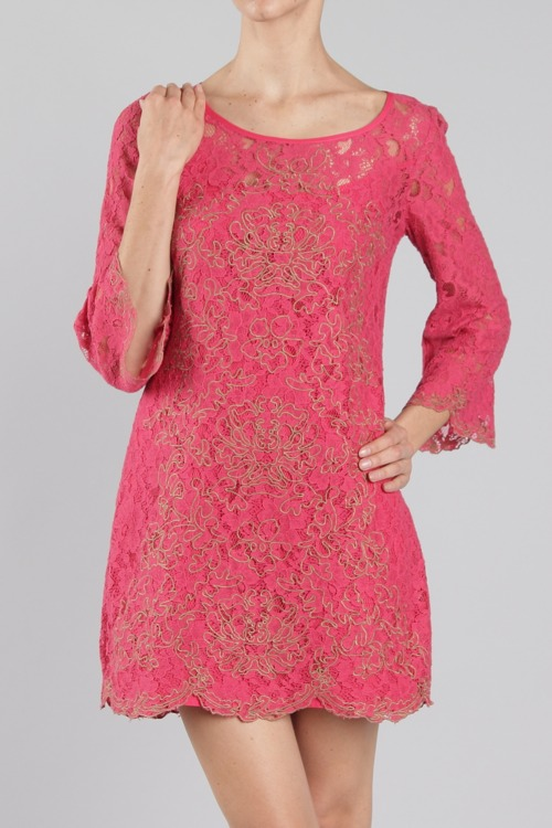 Lilah Embroidered Lace Dress - More Colors