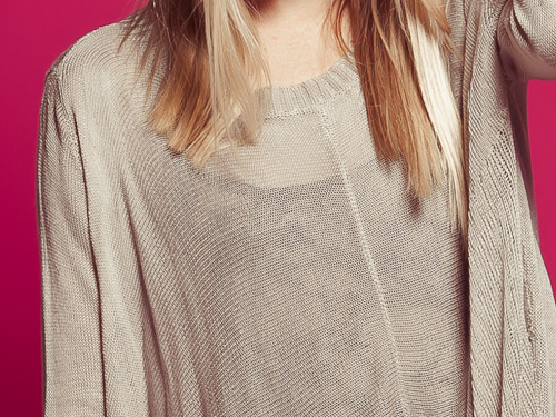 Love Stitch Unbalanced Light Gray Sweater