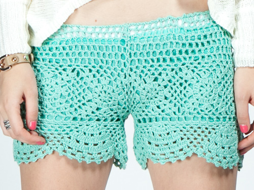 Barcelona Crochet Shorts - Mint