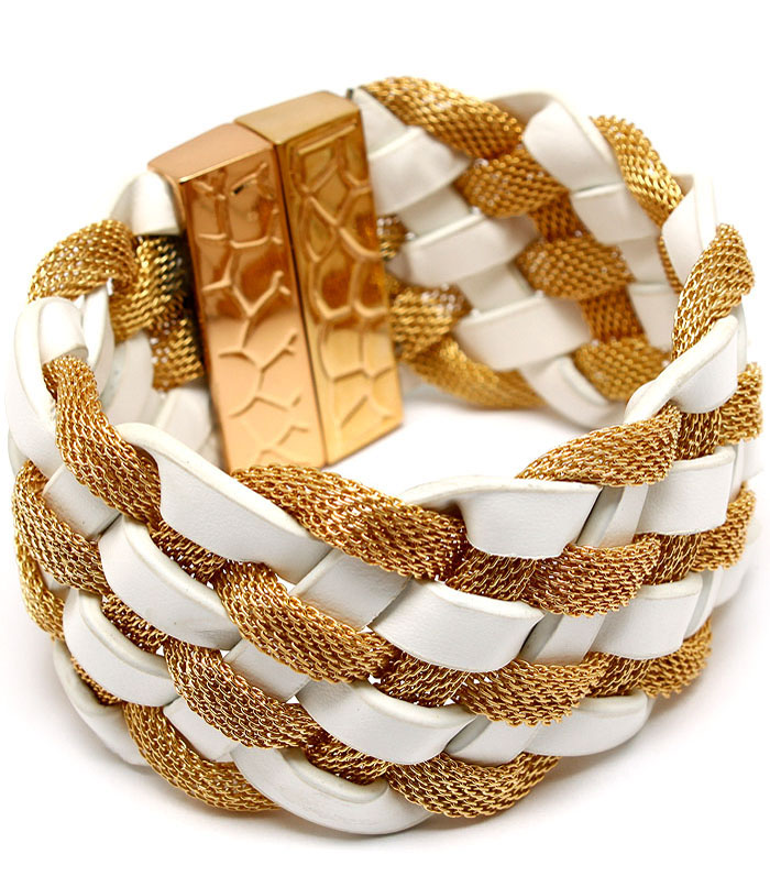 Allaine Leather and Metal Mesh Braid Bracelet - More Colors