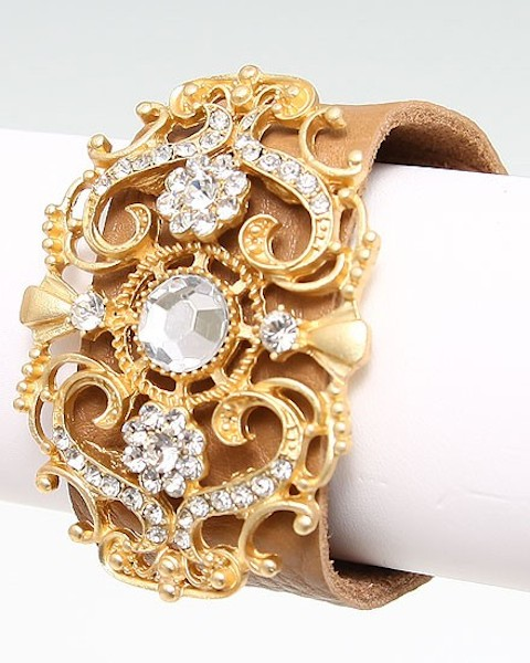 Chantilly Crystal Stones Cuff Bracelet