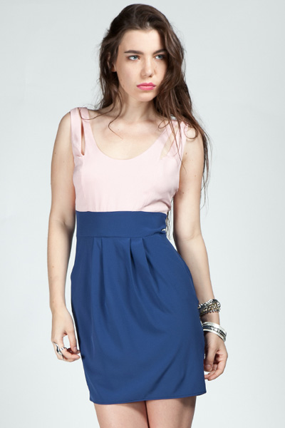 Ashtyn Color Block Cutout Detail Dress - Royal Blue/Pink