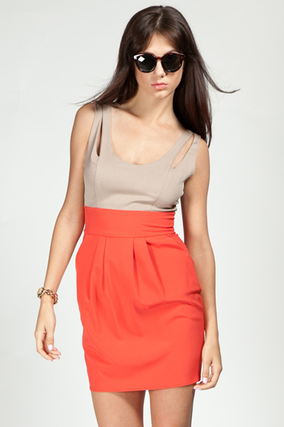 Ashtyn Color Block Cutout Detail Dress - Tangerine/Tan