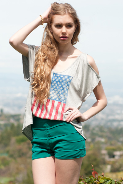 Salute Cut Out Shoulder Flag Top