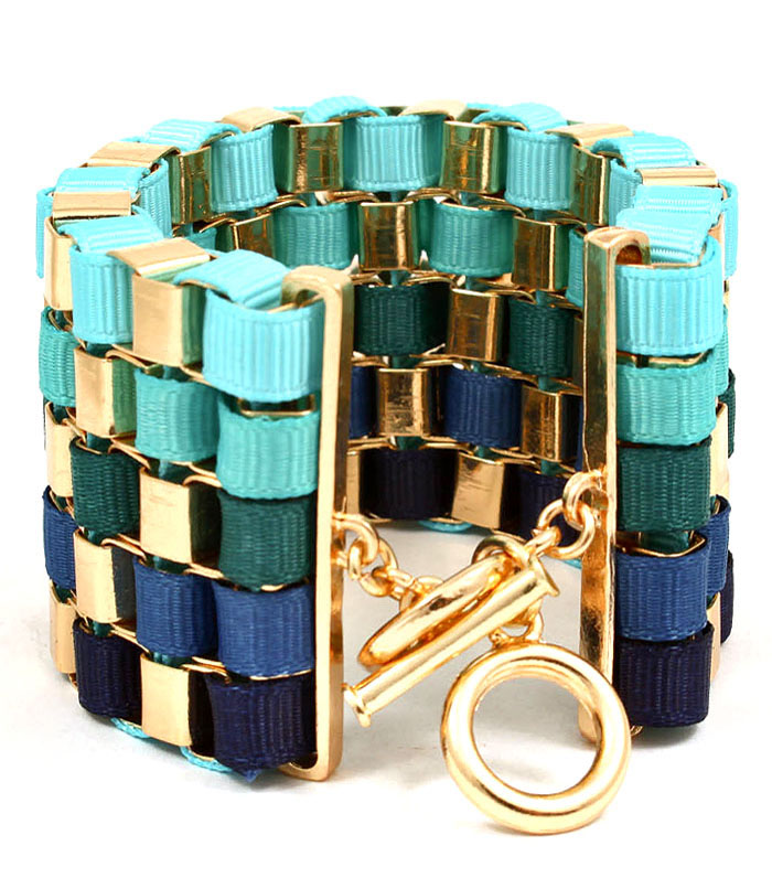 Five Shades of Blue Toggle Bracelet