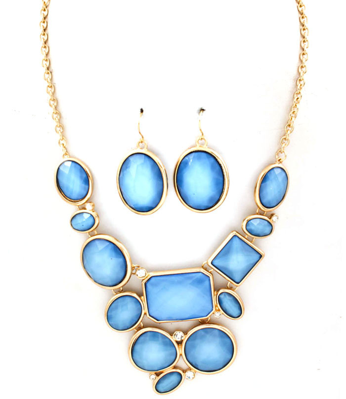 Geo Bib Necklace and Earring Set - More Colors