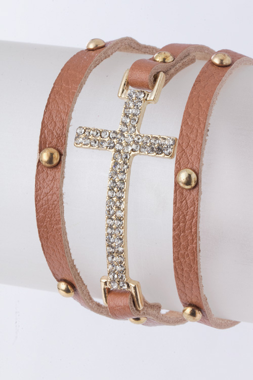 Studded Crystal Cross Wrap Bracelet - More Colors