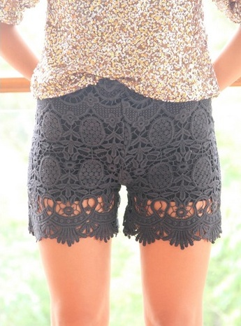 Victoria Lace Shorts - Black