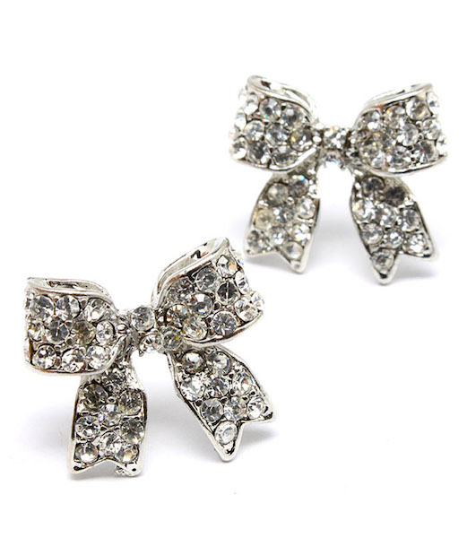 Crystal Bow Post Earrings - Silver