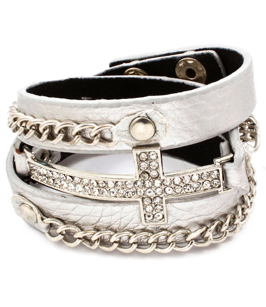Cross and Chain Wrap Bracelet - Metallic Band