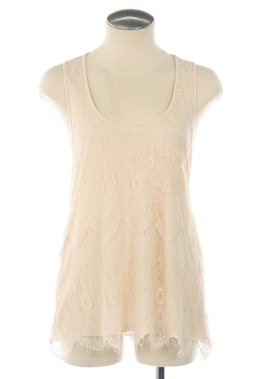 Lumiere Scalloped Hem Lace Overlay Tank