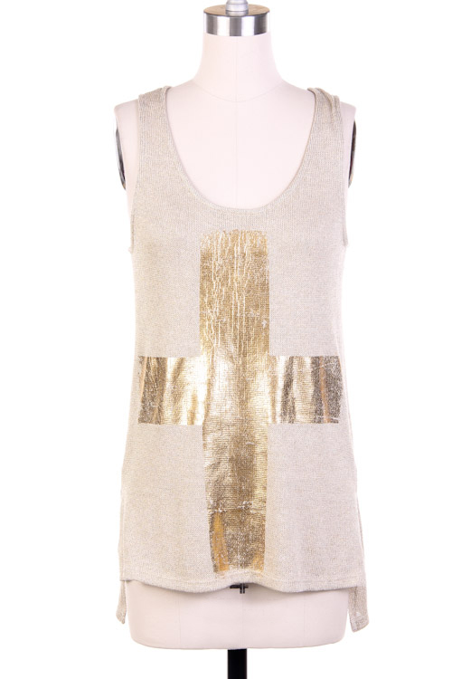 Marlowe Metallic Knit Tank Top