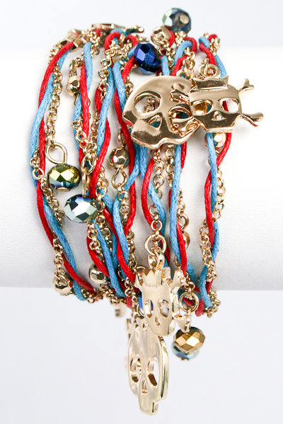 Skulls Chain and Thread Wrap Bracelet - More Colors