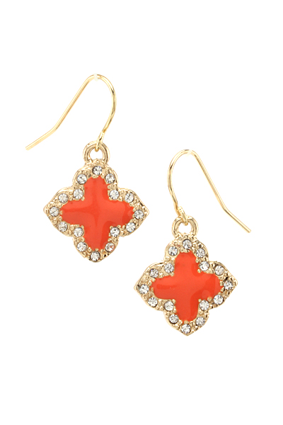 Rhinestone Clover Earrings - More Colors