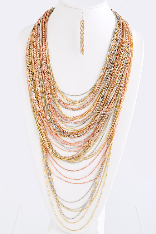 DaVinci Layered Chain Necklace and Earring Set - More Colors