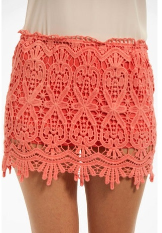 Sydney Lace Mini Skirt - Coral