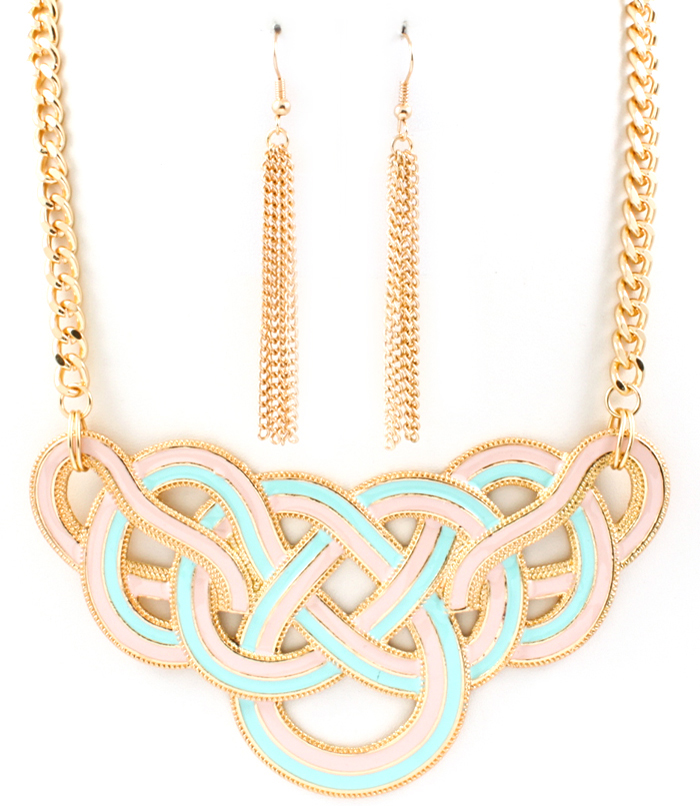 Abstract Pastel Bib Necklace and Earring Set