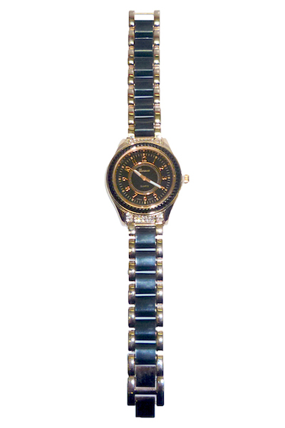 Geneva Women's Black & Rose Gold Metal Band Hematite Bezel Watch