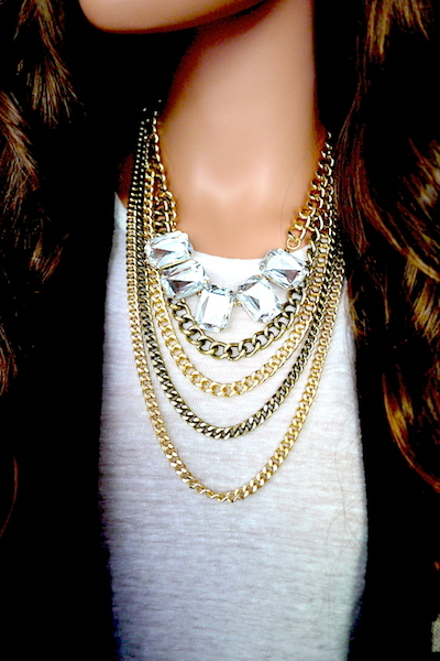 Heather Layered Chain & Jewel Necklace and Earring Set
