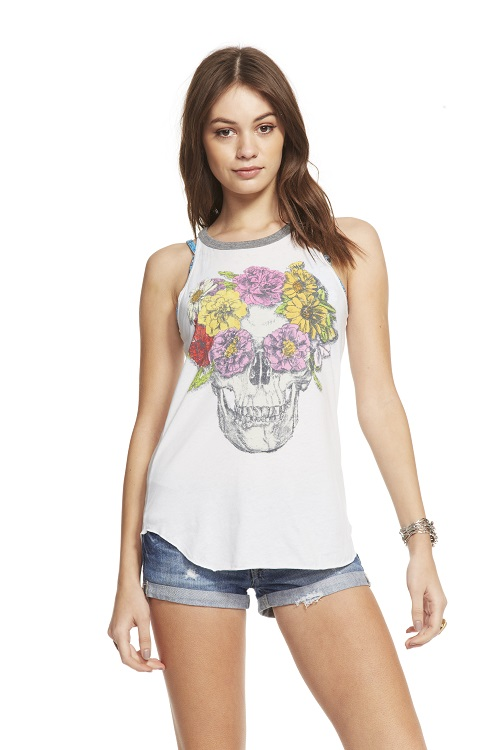 Flower Crown Skull Graphic Shirttail Tank