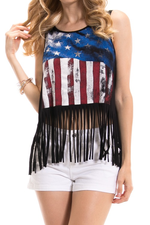 American Flag Fringe Tank Top - More Colors
