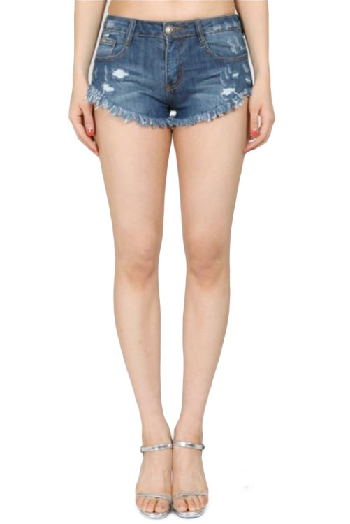 Ashlynn Curved Hem Distressed Denim Shorts