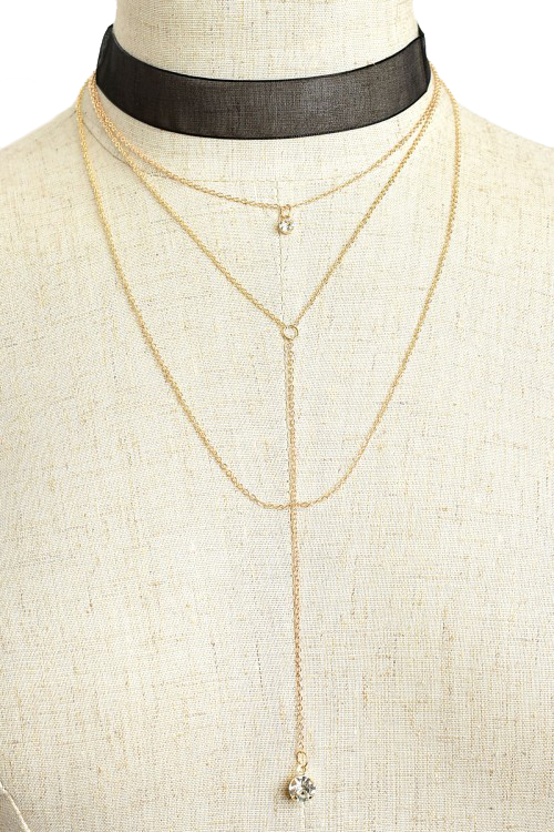 Triple Chain Drop Stone Lariat Necklace and Earring Set